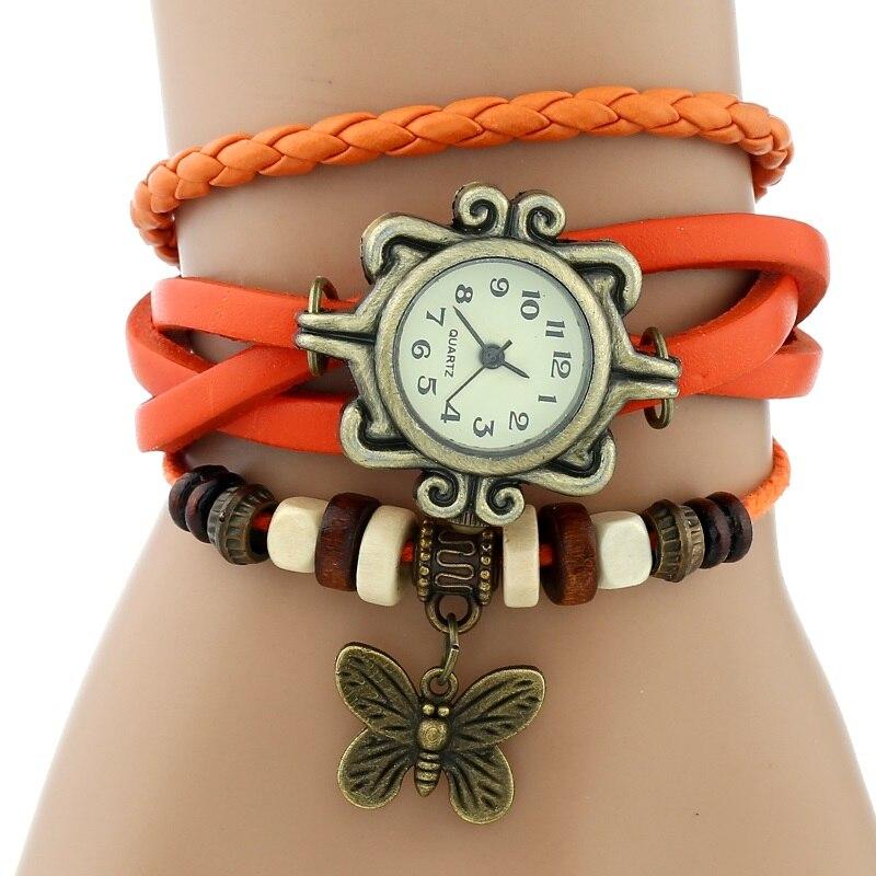 Gnova платины Кожаный Браслет Бабочка Леди Винтаж наручные часы мятно-зеленый розовый фиолетовый Этническая мода A887 - Цвет: orange