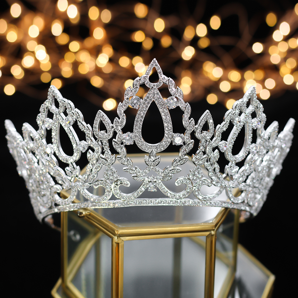 Luxe Koningin Kroon Bruiloft hoofddeksels Bruid Accessoires Haar Sieraden Accessoires Bruid Hoofddeksels-in Haarsieraden van Sieraden & accessoires op  Groep 2