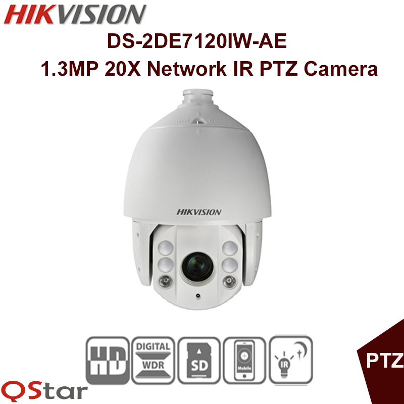 Hikvision Original English Version DS-2DE7120IW-AE IP Camera 1.3MP 20X Network IR PTZ CMOS CCTV Security 150m CCTV Camera hikvision ds 2de7230iw ae english version 2mp 1080p ip camera ptz camera 4 3mm 129mm 30x zoom support ezviz ip66 outdoor poe
