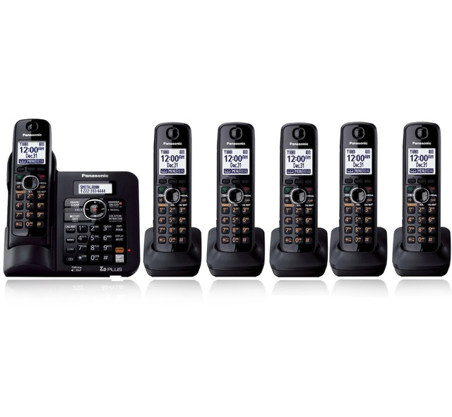 6 Трубок KX-TG6641 DECT 6.0 Цифровой беспроводной телефон Черный Беспроводной Телефон с автоответчиком