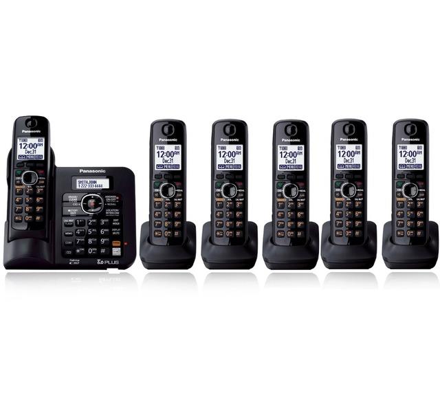 6 Teléfonos KX-TG6641 Digital DECT 6.0 teléfono inalámbrico Teléfono Inalámbrico con contestador automático Negro