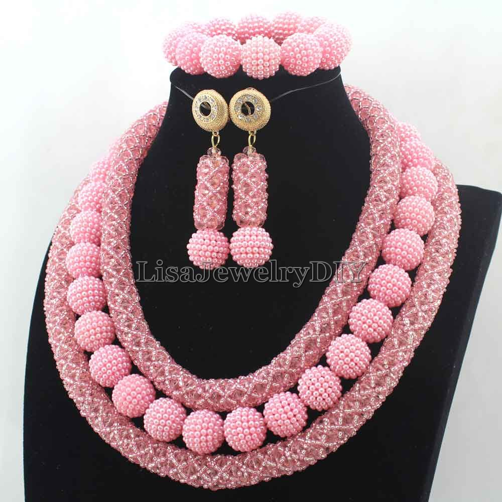 2016 Latest Pink Crystal Beads African Jewellery Set Women ...