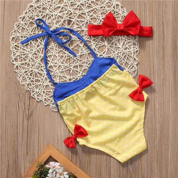 2Pcs Fashion Toddler Kid Baby Girls Bowknot Halter Bodysuit Jumper+Headband Holiday Beach Bathing Suit Tankini Bikini Set