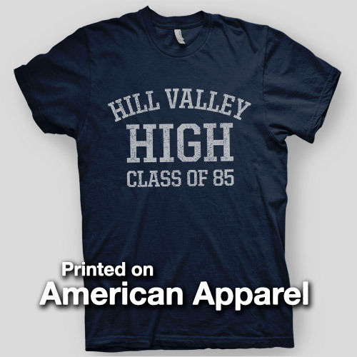 HILL VALLEY HIGH Back to Future BTTF Flux VINTAGE LOOK AMERICAN APPAREL T-Shirt Fashion Men T Shirts Round Neck Black Style