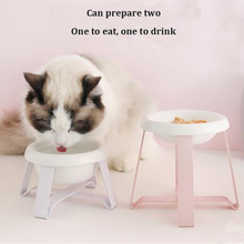 @HE Pet Supplies Cat Bowl Small Dog Tableware Ceramic Cat Bowl Stainless Steel Frame Easy To Clean Three-color High And Low Bowl he pet supplies cat bowl dog tableware ceramic stainless steel frame easy clean three color high depth and shallow drink bowl