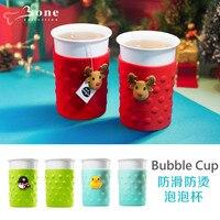 425ml(14 fl oz) Christmas couple mug bubble funny mug Environmental protection silicone cartoon cute creative new drop 1pcs