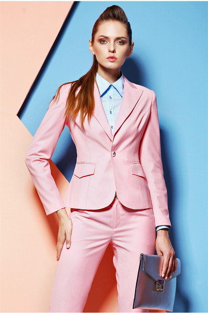 Pink Custom Made Professional Formal Pantsuits Uniform Style Office
