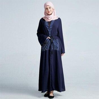 Vestido de mujer musulmana a rayas a la moda vestido abaya abierta Kaftan islámico de manga larga a1143