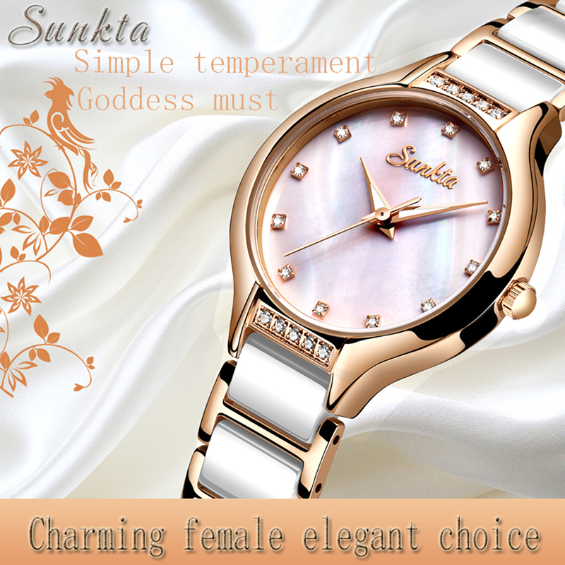 SUNKTA New Rose Gold Ladies Ceramic Watch Women Top Brand Luxury Watch Fashion Simple Waterproof Women Watches Relogio Feminino
