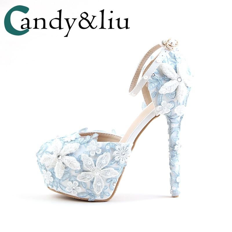 Wedding Shoes Light Blue Lace Pearls Flower Round Toe Bride Pumps Buckle  Strap Super Higher 14cm Heels Ladies Sandals Hand Made dd6045a468d1
