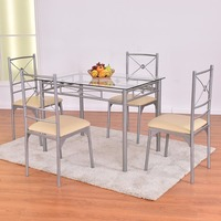 Goplus 5 Piece Kitchen Dining Room Set Glass Metal Table And 4 Chairs Set Breakfast Furniture