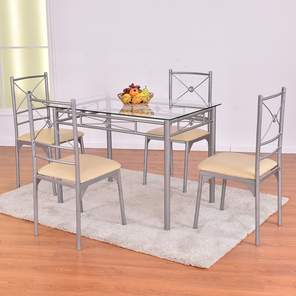 Goplus 5 Piece Kitchen Dining Room Set Glass Metal Table and 4 Chairs Set Breakfast Furniture Kitchen Table Chairs Set HW54426 dining table chairs in rattan materials outdoor garden dining set