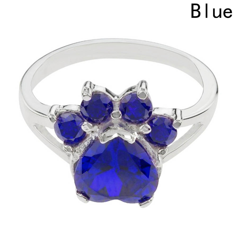 Pet Paw Dog Animal Paw Print Birthstone Sterling Ring at