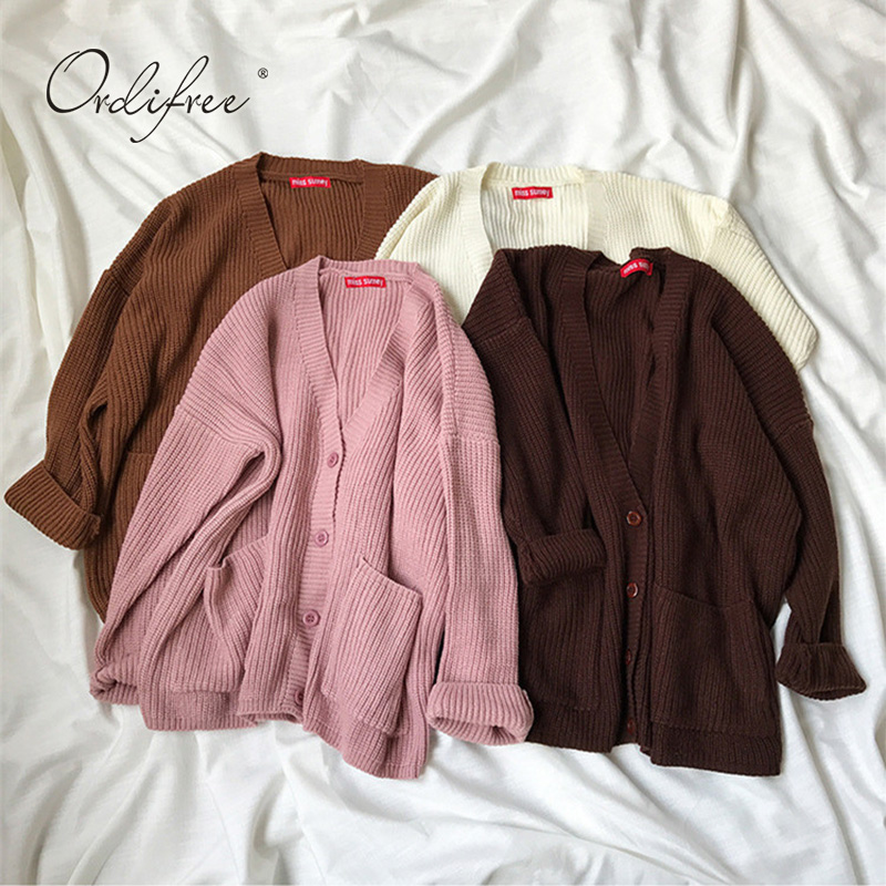 8c69ea85c0b139 Ordifree 2019 Autumn Winter Women Knitted Cardigan Casual Jumper Long  Sleeve Knitwear Knitting Sweater Cardigan