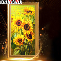 5d Diy Diamond Painting Cross Stitch Sunflower Full Diamond Embroidery Flowers Crystal Square Diamond Mosaic Pictures