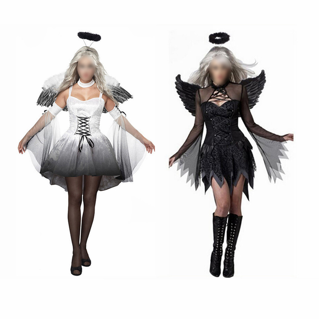Horror Women Halloween Angel Costume with Wings Headband Fancy Dress ...