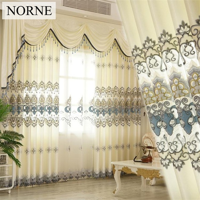 Norne Luxury Europe Embroidered Tulle Window Curtain for living Room ...