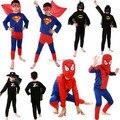 2015 Хэллоуин детская Человек-Паук Супермен Бэтмен Зорро Костюм Сценические Костюмы Партии Мультфильм Девочек Мальчиков Детей Устанавливает С Мыса