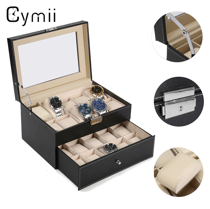 Cymii PU Leather 20 Grids Watch Display Case Box Jewelry Storage Organizer Elegant Watch Holder Box Gifts Organizer caja reloj women jewelry watch box pink stripe leather wristwatch display case box rings collection storage organizer holder box case