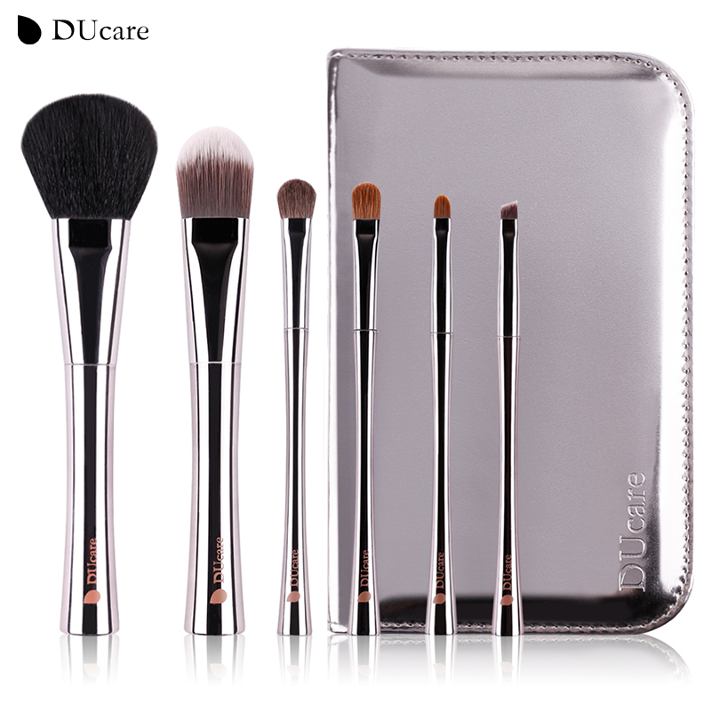 DUcare 6pcs makeup brush professional make up brush set with high quality luxury bag make up brushes with bag free shipping недорого