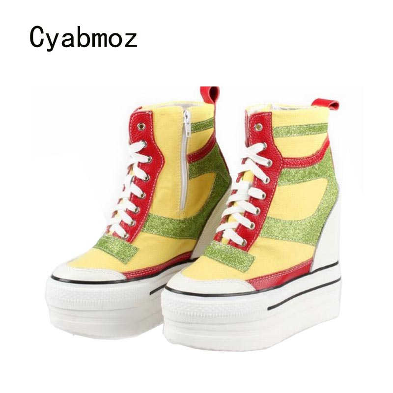 Cyabmoz Women Lace Wedge Ankle boots Woman High heels Platform Height increasing Mixed colors Ladies Party shoes Tenis feminino cyabmoz zapatos mujer tenis feminino platform shoes woman lace up thick bottom women casual party ladies valentine single shoes