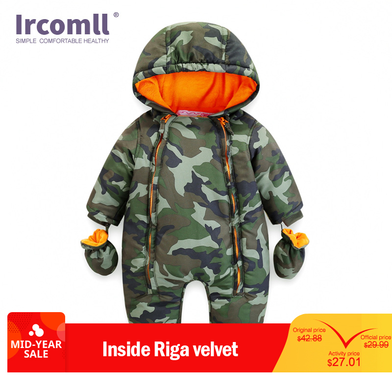 Ircomll 2018 Newborn Baby Rompers Winter Thick warm Kid Baby Girls Boys Infant Clothing Camo Flower Hooded Jumpsuit Kids Outwear