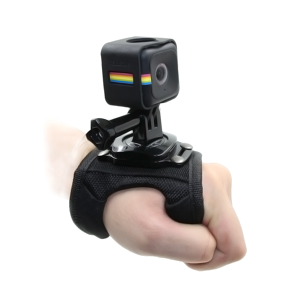 TELESIN Glove Style Hand Wrist Palm Strap with Frame Tripod Mount Adapter Screw for Polaroid Cube and Cube+ Camera Accessories