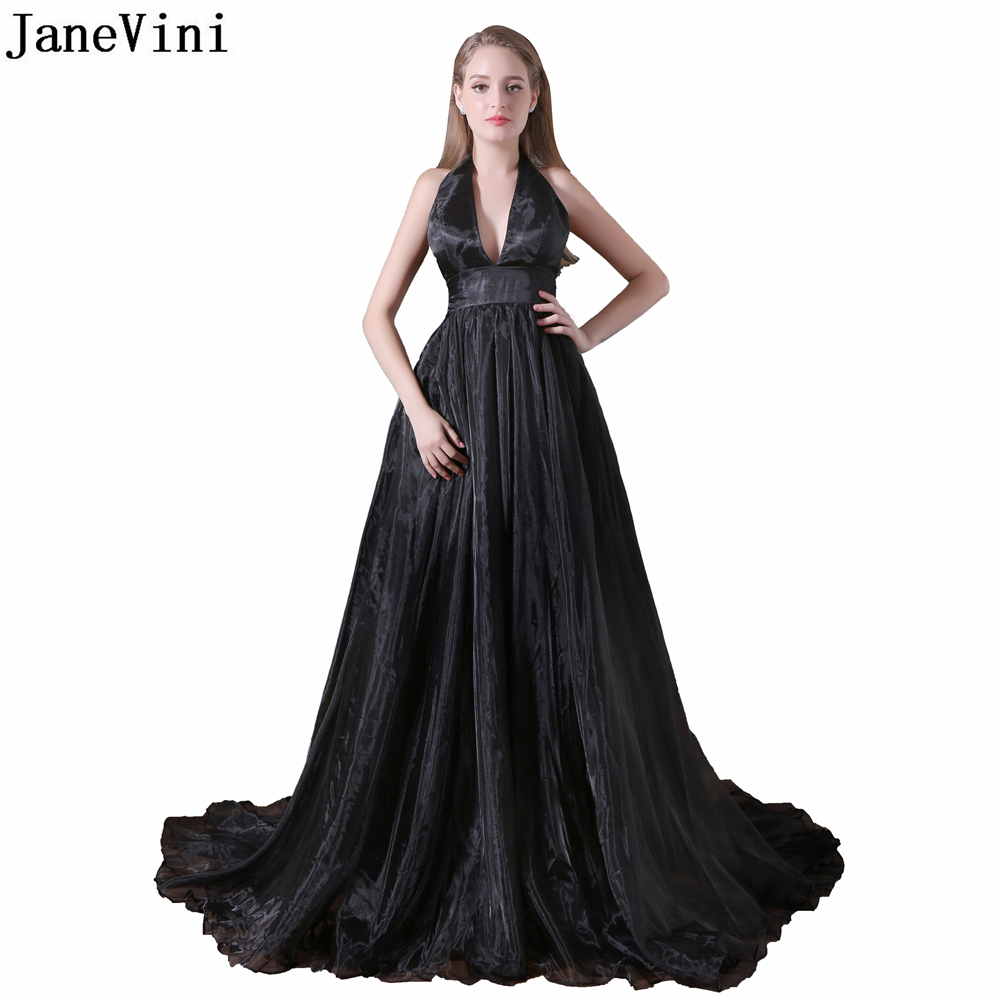 JaneVini Simple Black Organza Long   Bridesmaid     Dresses   Sexy Deep V Neck High Split Backless Sweep Train A Line Formal Prom Gowns