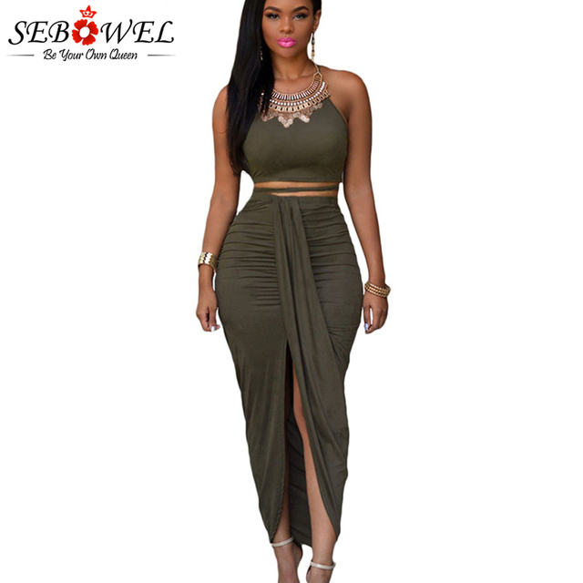 766a2728bffc SEBOWEL Summer Sexy Skirt Set Women Two Piece Set Outfits Green Bodycon  Faux Suede Two Piece Maxi Skirt Set Female Suit 2018