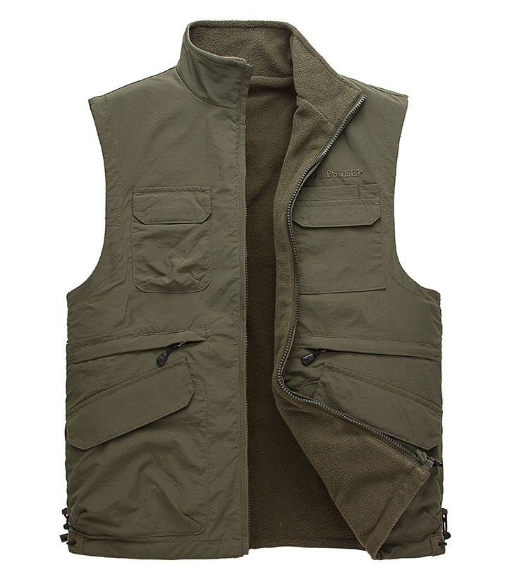 2015 Autumn Spring Casual Men Vest Coat Fleece AFS JEEP Cotton Multi Pocket 4XL Cargo Outdoor Sleeveless Jackets Waistcoat Vests (10)