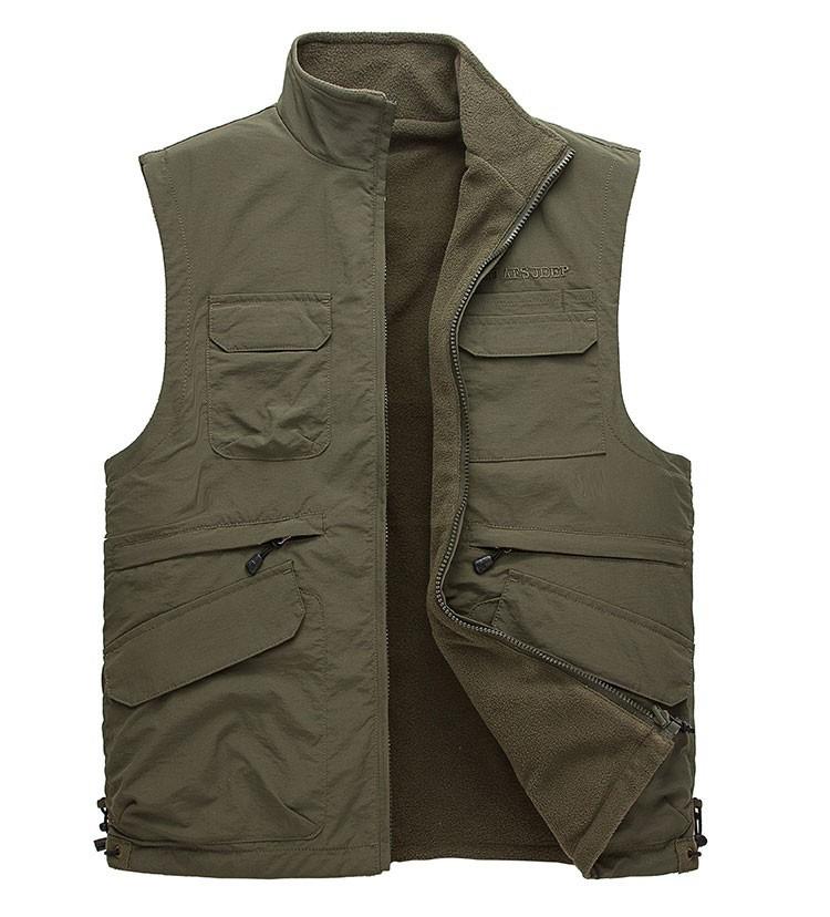 2015 Autumn Spring Casual Men Vest Coat Fleece AFS JEEP Cotton Multi Pocket 4XL Cargo Outdoor Sleeveless Jackets Waistcoat Vests (10)