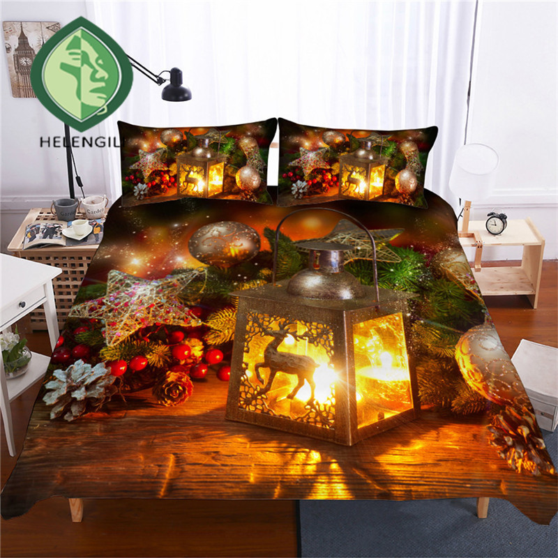 HELENGILI 3D Bedding Set Christmas Print Duvet Cover Set Lifelike Bedclothes With Pillowcase Bed Set Home Textiles #SD-49