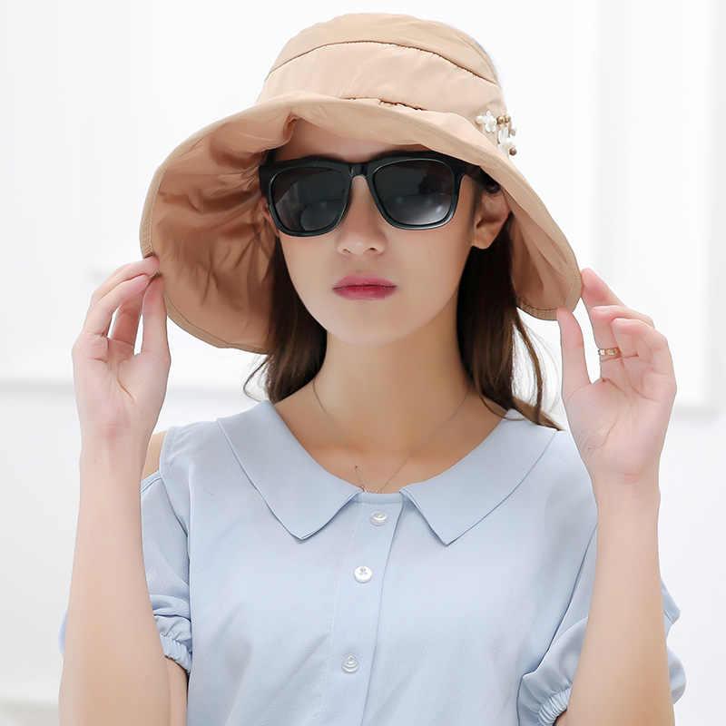 6cfdce08342 ... Sun Hats for women summer wide brim beach hat packable sun visor hat  with big heads ...