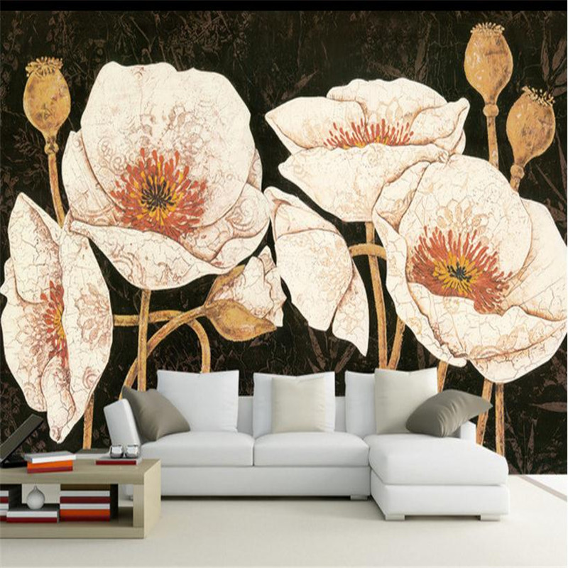 цена на 3D Custom Vintage Wallpapers Flowers Photo Wall Murals Classic Large Decorative Painting Walls Papers Home Decor for Living Room