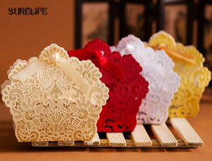 Image 5 - 100PCS Laser Cut Hollow Lace Flower White/Gold/Red Candy Box Luxury Wedding Party Sweets Candy Gift Favour Favors Boxes
