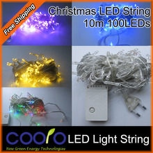 110v/220V Led String Christmas Lights 10m/100leds With 8 Modes for Holiday/Party/Decoration,Free shipping