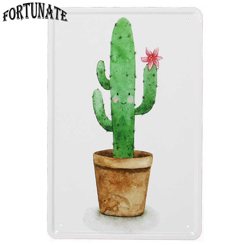New Green Cute Cactus Retro Sign Metal Signs Home Decor