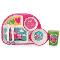 5pcs/set children plate bamboo fiber tableware Baby tableware set cartoon dinner Tableware Christmas gift