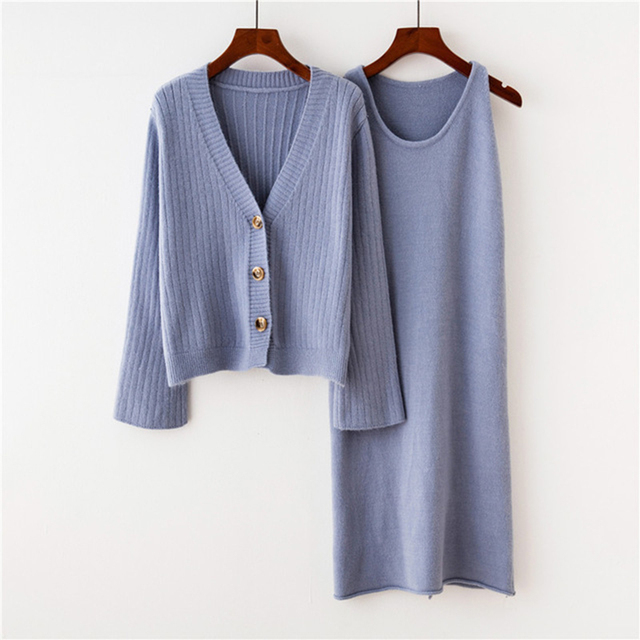 dac71b932b2821 HSA Women 2 Pcs Pullovers and Sweater Dress Single Breasted Loose Jumpers Dress  Cardigans and Dress 2 pcs Suit Winter Clothes
