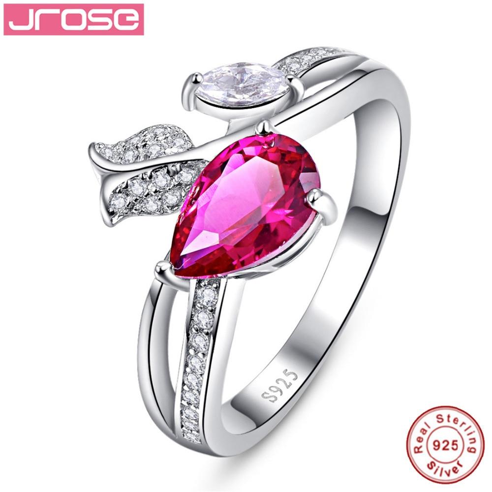 f11ea210f9b7 Jrose PEAR cut Lab creado rojo gota de agua Rosa sólido 925 anillo de compromiso  joyería para las mujeres Sz 6-9 gratis con caja