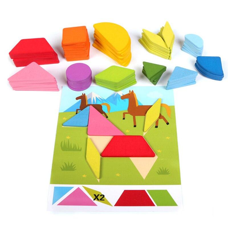 Детские Tangram деревянная игрушка-головоломка детей головоломка Монтессори Деревянные Головоломки Adulto коробка Rompecabezas Пазлы для детей 80P0002