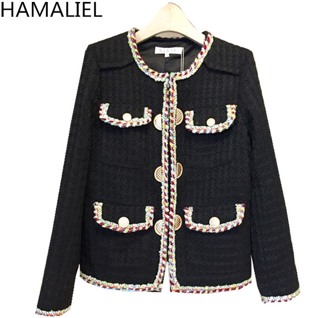 HAMALIEL High Quality Women Tweed Jacket Coat 2018 Runway Winter Black Patchwork Long Sleeve Female O Neck Manual Lace Coat
