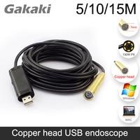 Hot 14mm Endoscope Waterproof IP67 USB Endoscope Inspection 4 LEDs Snake Tube 5 10 15Meters Portable
