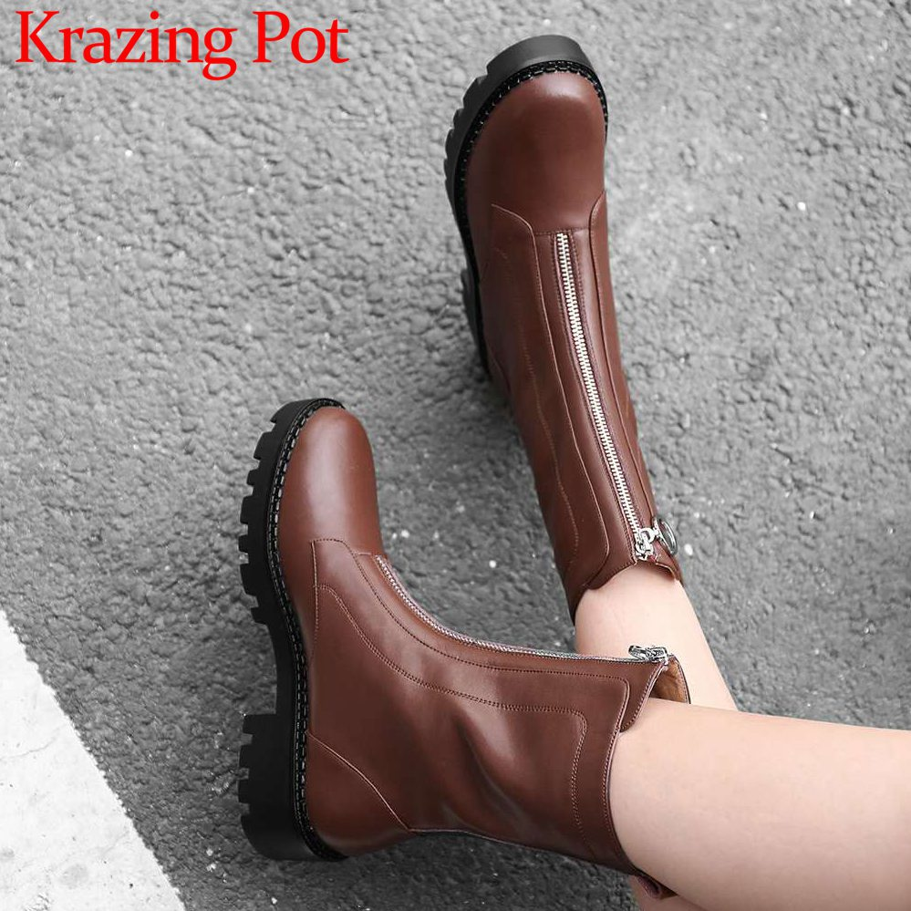 Movie stars vintage western boots round toe med heels waterprof soft genuine leather young lady front zipper mid-calf boots L89