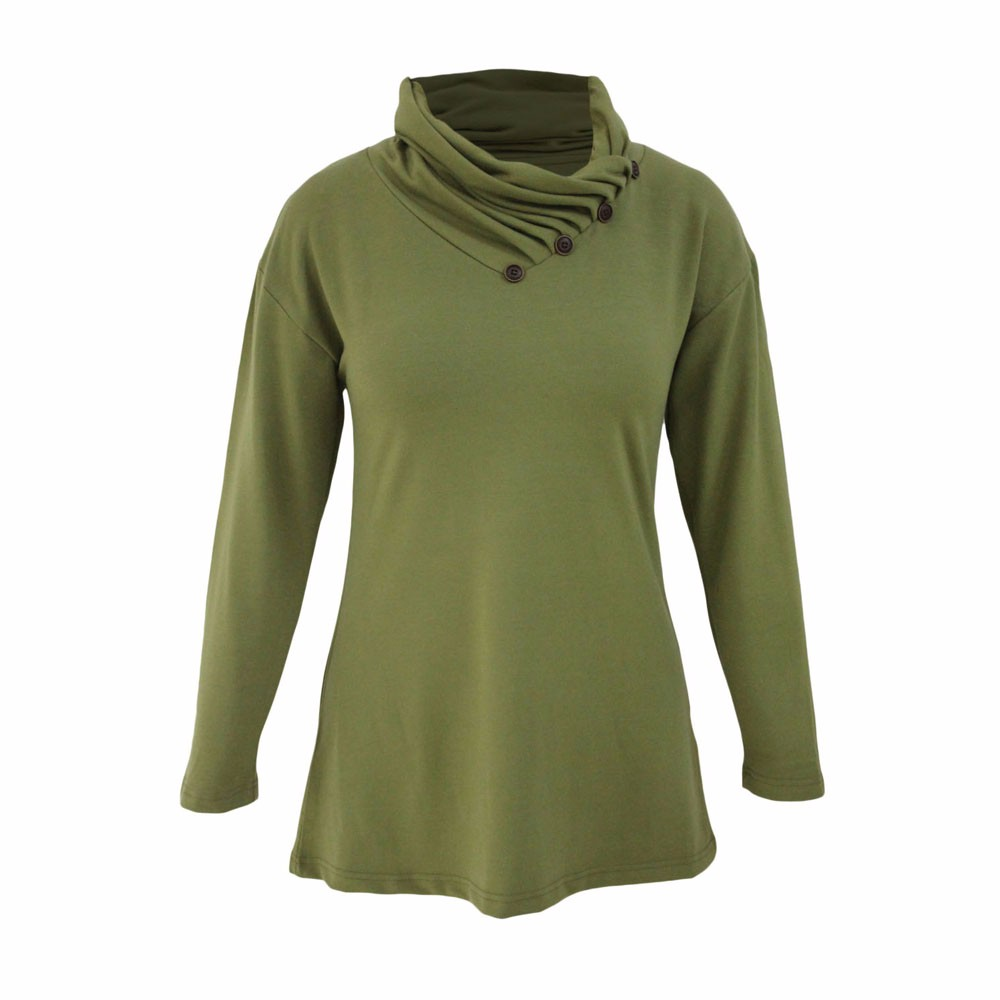 Army-Green-Buttoned-Cowl-Neck-Long-Top-LC25977-9-3