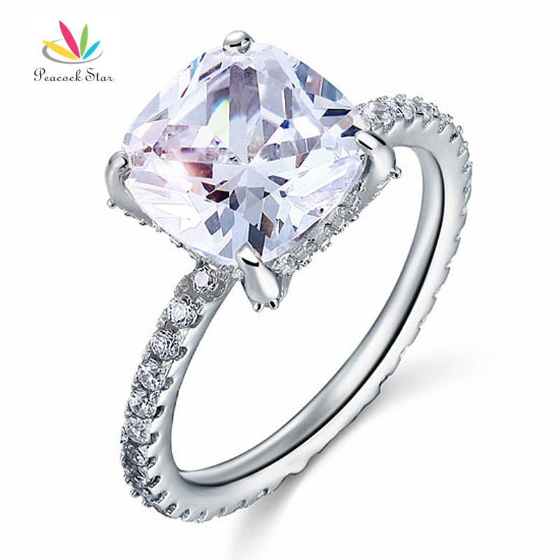 Peacock Star Solid 925 Sterling Silver Wedding Promise Engagement Ring 5 Carat Cushion Cut Jewelry CFR8092 peacock star solid sterling 925 silver bridal wedding promise engagement ring set 2 ct pear jewelry cfr8224