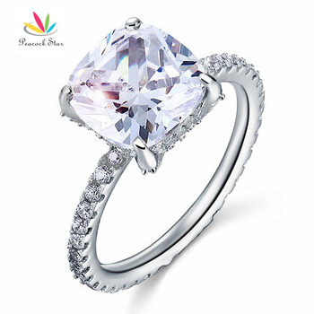 Peacock Star Solid 925 Sterling Silver Wedding Promise Engagement Ring 5 Carat Cushion Cut Jewelry CFR8092 - discount item  20% OFF Fine Jewelry
