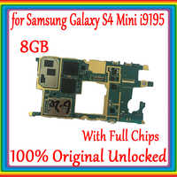 Original Tested Unlocked With Chips Mainboard PCB For Samsung Galaxy S4 mini i9195 Motherboard Flex Cable Logic Boards