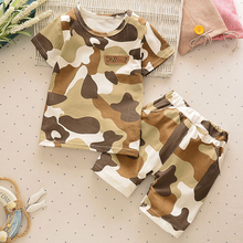 2 pcs Summer Boys Clothing Sets Children Clothing Set Kids Boy Clothes Short Sleeves Shirts+Shorts Army Camouflage Suit DS49 kimocat summer boys clothing sets children clothing set kids boy clothes flower tie shirts shorts 2pcs gentleman suit with tie