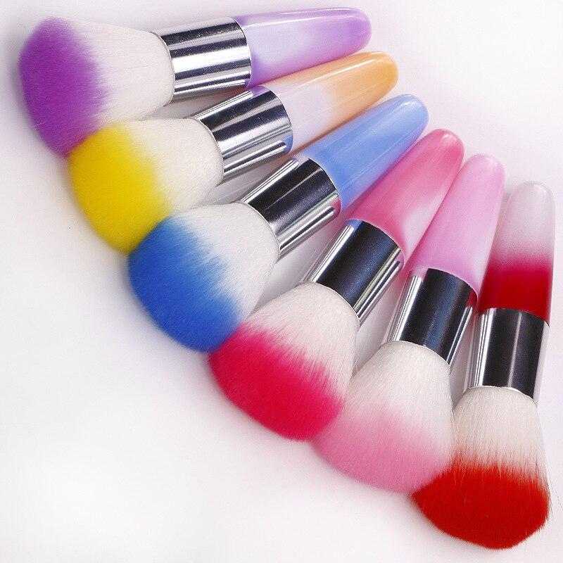1 Pc 6 Colores Cepillo De Herramientas De Uñas Para Acrílico Y Gel Uv Uñas Arte Cepillos De Limpieza De Polvo Para Manicura Maquiagem Pinceaux Peinture Ser Amigable En Uso